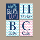 Shared BATHROOM Wall Art, Canvas or Prints, Three Siblings, Brothers Sisters Bathroom, Pink Navy Blue, Chevron Bathroom Rules, Set of 4