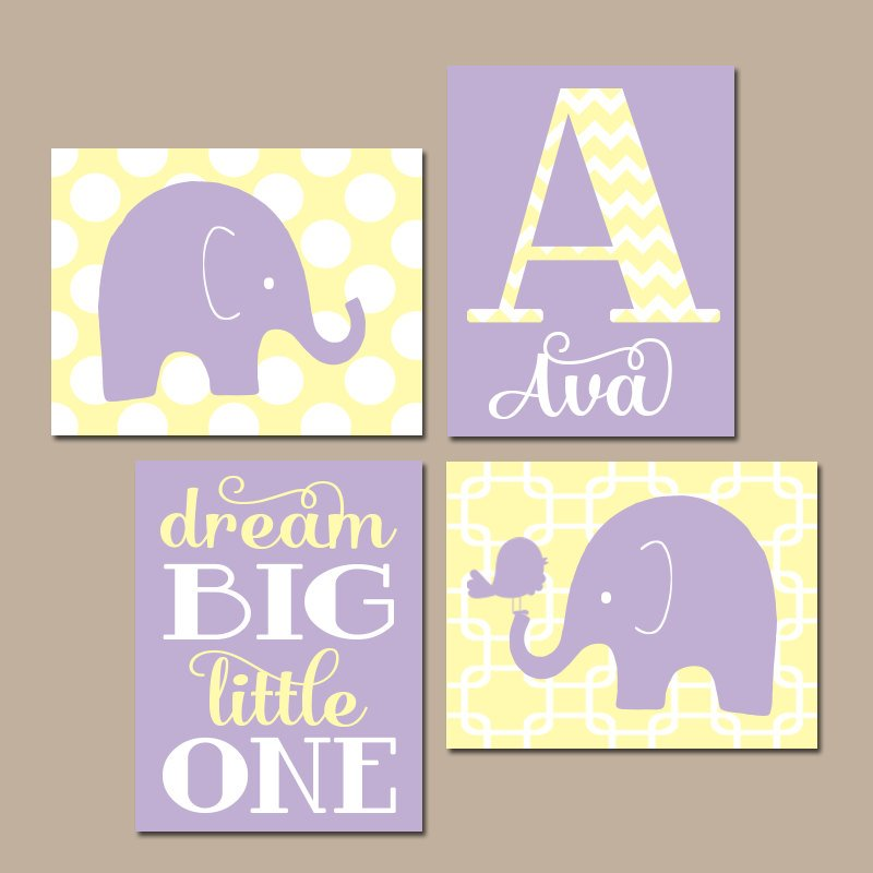 GIRL ELEPHANT Nursery Wall Art, Elephant Nursery Decor, Baby Elephant Nursery Wall Decor, Dream Big Little One, Canvas or Print Set of 4