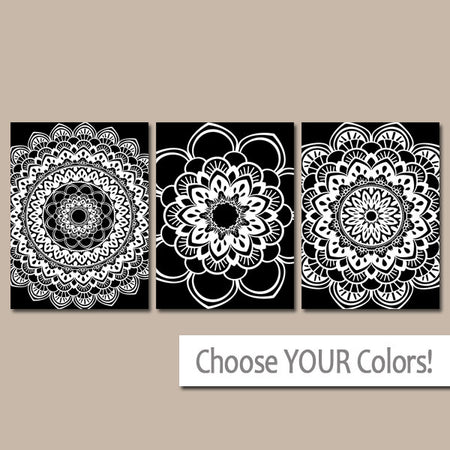 Black White Bedroom Wall Decor, CANVAS or Prints, Black White Bathroom Decor, Mandala Wall Art, Set of 3 Medallion Home Decor Wall Decor