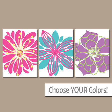 FLOWER Wall Art, Girl Bedroom Wall Decor, Girl Flower Art, Baby Girl Nursery Decor, Colorful Flower Art, Set of 3 Canvas or Prints, Decor