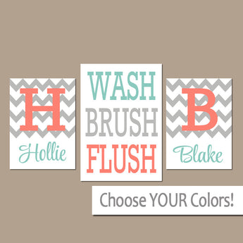 Brother Sister Bathroom Wall Art, CANVAS or Prints Shared Boy Girl Coral Aqua Gray Bathroom Personalized Name WASH Brush Flush Set of 3