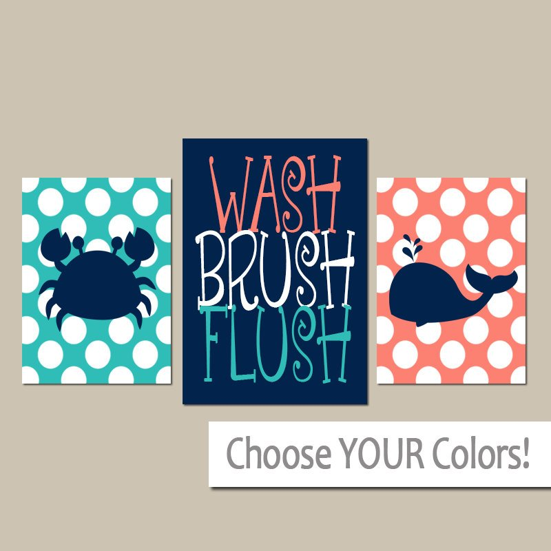 Nautical BATHROOM Wall Art, Whale Crab, Canvas or Prints, Kid BATHROOM Decor, Bath Rules, Wash Brush Flush, Navy Orange Turquoise Set of 3