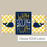 WHALE BATHROOM, Whale Wall Art, Canvas or Prints Child Bathroom, Boy Girl Bathroom Yellow Navy Nautical Bathroom Set of 3 Kid BATHROOM Rules