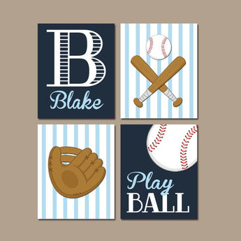 BASEBALL Wall Art, Baseball Canvas or Prints, Baseball Baby Boy Nursery Decor, Baseball Big Boy Room, Baseball Theme Pictures Set of 4 Decor