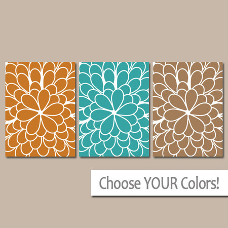 Flower WALL ART, Flower Outline Art, CANVAS or Prints, Sepia Orange Turquoise, Floral Bathroom Wall Decor, Floral Bedroom Decor, Set of 3