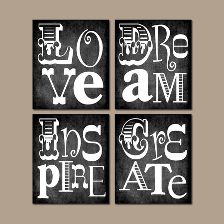 Quote Wall Art, PLAYROOM Pictures, CANVAS or Print Office Decor, Pictures, Chalkboard Teacher Classroom, LOVE Create Dream Inspire Set of 4