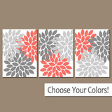 CORAL GRAY Flower Wall Art, Coral Gray Bedroom Wall Decor, Coral Gray Bathroom Decor, Baby Girl Nursery Flowers, Set of 3 Canvas or Print