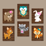GIRL WOODLAND Nursery Decor, Girl Woodland Animals Wall Art, Girl Wood Forest Animals, Girl Woodland Animals, Canvas or Prints Set of 6