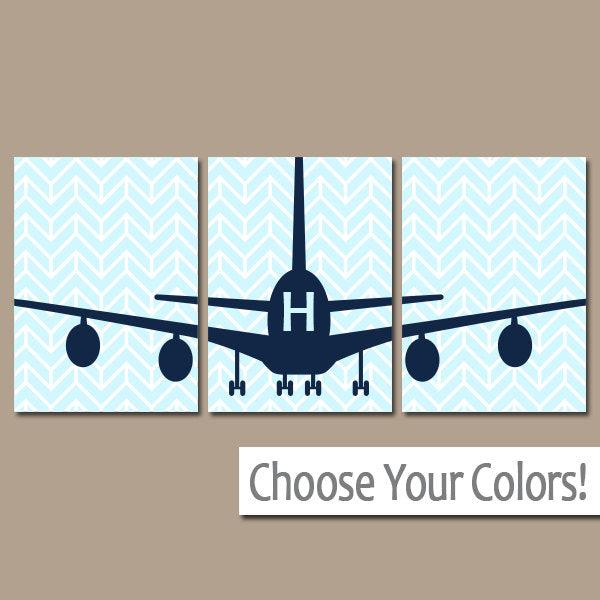 AIRPLANE Wall Art, Canvas or Prints Baby BOY Nursery Decor,  Plane Decor, Airplane Theme, Fly Transportation Set of 3 AIRPLANES Wall Decor - TRM Design