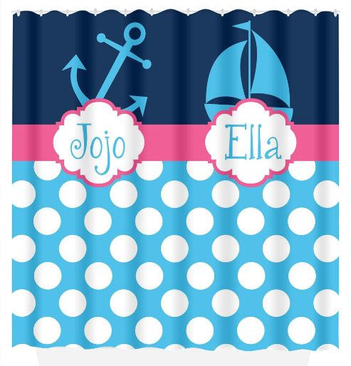 Anchor Sailboat SHOWER CURTAIN, Nautical Bathroom Decor, Custom Monogram Personalized, Shared Brother Sister, Bath Towel,  Bath Mat - TRM Design