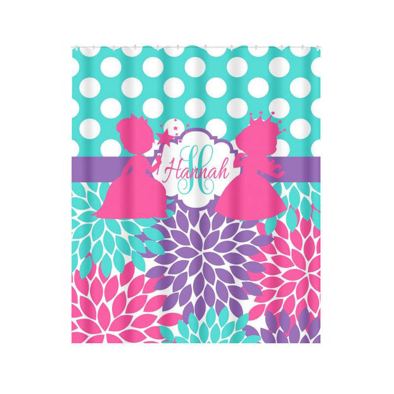 Princess SHOWER CURTAIN Girl Monogram Personalized Turquoise Hot Pink Sister Bathroom Shared Bath Towel,  Bath Mat