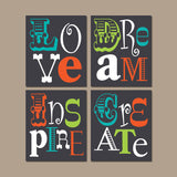 Quote Wall Art, PLAYROOM Pictures, CANVAS or Print Office Decor, Pictures, Colorful Teacher Classroom, LOVE Create Dream Inspire Set of 4