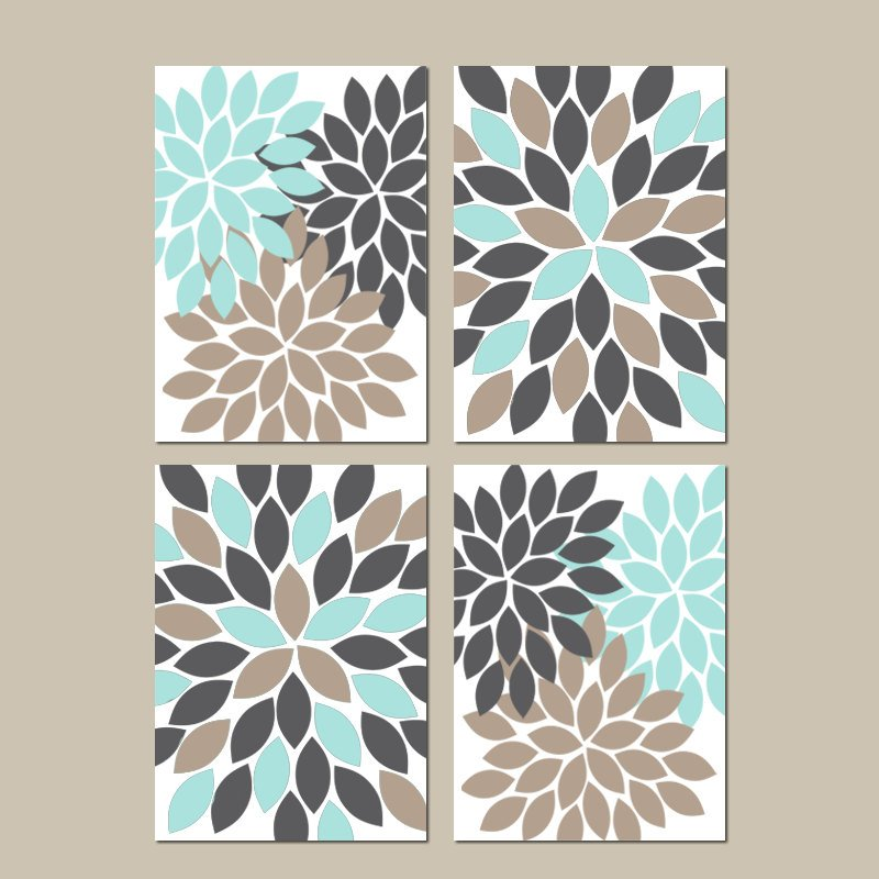 Gray Navy Beige Wall Art, CANVAS or Prints Bedroom Wall Decor, Bathroom Decor, Flower Burst Wall Art, Home Decor, Dahlia Petals Set of 4