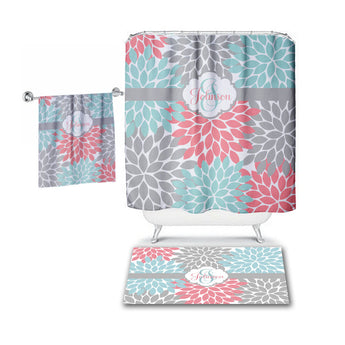 Aqua Coral Gray SHOWER CURTAIN, Flower Petals, Custom MONOGRAM Personalized, Floral Bathroom Decor, Bath Towel, Plush Bath Mat - TRM Design