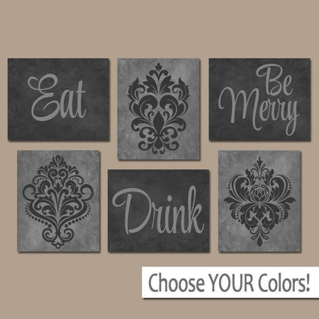 EAT DRINK be Merry Wall Art, CANVAS or Prints, Black Gray Kitchen Decor, Dining Room Pictures, Trellis Pattern, Home Decor Set of 6 Pictures
