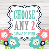 Create Your Own Set of 2 Wall Art,  Choose Any 2 Two CANVAS or Prints Quote TRM Design Home NURSERY Boy Girl Home Decor Wall Decor Pictures - TRM Design