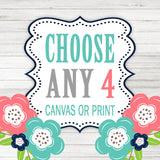 Create Your Own Set of 4 Wall Art, Choose Any 4 Four CANVAS or Prints Quote TRM Design Home NURSERY Boy Girl Home Decor Wall Decor Pictures - TRM Design