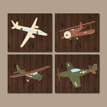 AIRPLANE Wall Art, Airplane Decor, Aviation Plane CANVAS or Prints, Aviation Theme, Plane Boy Nursery Decor, Big Boy Toddler Room, Set of 4