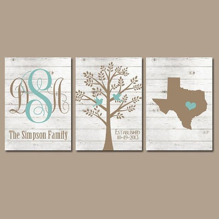 Family Tree Wall Art, Farmhouse Decor, White Wash Wood, Monogram CANVAS or Prints Wall Decor Wedding Gift, Date Tree Birds State Set of 3