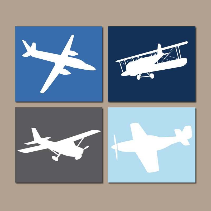 AIRPLANE Wall Art Canvas or Prints Baby Boy Nursery Decor, Blue Airplane Theme, PLANES, Aviation Decor, Set of 4, Big Boy Bedroom Pictures - TRM Design
