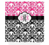 Damask SHOWER CURTAIN, Girl Hot Pink Black Shower Curtain, Girl MONOGRAM Personalized Bathroom Decor Damask Bathroom Bath Towel Bath Mat Rug - TRM Design