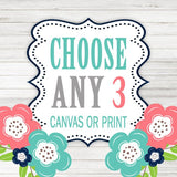 Create Your Own Set of 3 Wall Art, Choose Any 3, Three CANVAS or Prints, Quotes, TRM Design, Home, NURSERY, Boy Girl, Home Decor Wall Decor