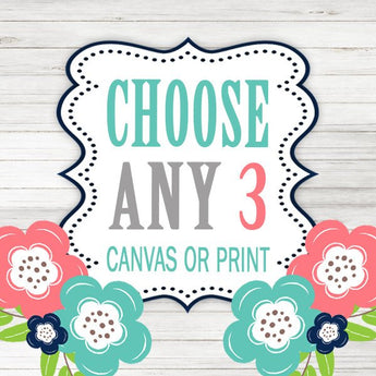 Create Your Own Set of 3 Wall Art, Choose Any 3, Three CANVAS or Prints Quotes, TRM Design, Home, NURSERY, Boy Girl, Home Decor Wall Decor - TRM Design