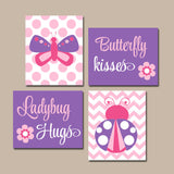 Butterfly Lady Bug Wall Art CANVAS or Print Butterfly Kiss Baby Girl Nursery Ladybug Hugs Girl Bedroom Pictures Pink Purple Decor Set of 4 - TRM Design