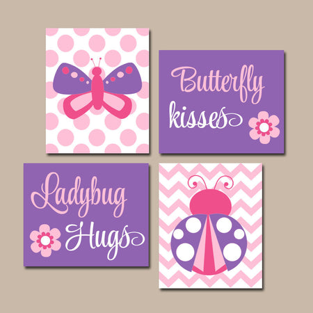 Butterfly Lady Bug Wall Art, CANVAS or Prints Butterfly Kiss Baby Girl Nursery Ladybug Hugs Girl Bedroom Pictures Pink Purple Decor Set of 4