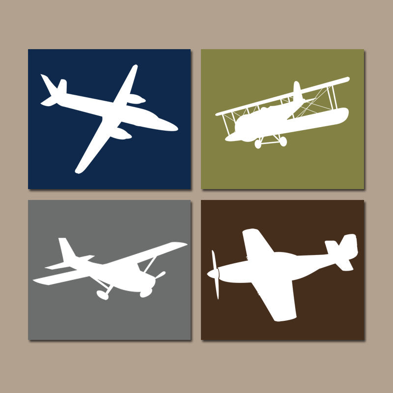 AIRPLANE Wall Art Canvas or Prints Baby Boy Nursery Decor, Airplane Theme, PLANES, Aviation Decor, Navy Green, Set of 4, Big Boy Bedroom - TRM Design