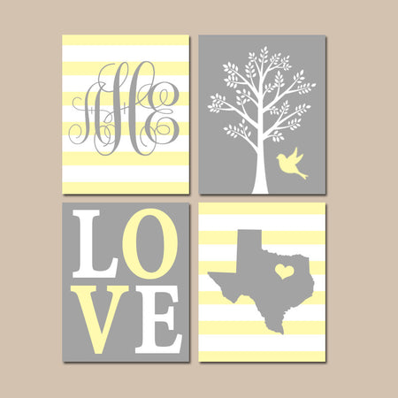 Yellow Gray Nursery Wall Art, Baby Girl Decor, State Love Tree Bird, Monogram Bedroom Wall Decor, CANVAS or Print, Set of 4 Choose Colors
