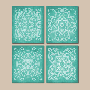 AQUA Wall Art, CANVAS or Prints, Abstract Modern, Medallion Outline, Bathroom Picture, Bedroom Decor, Matching Decor, Set of 4 Home Decor
