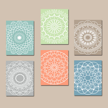 Kitchen Wall Art, Mandala Decor, CANVAS or Prints, Medallion Bedroom Wall Decor, Outline Circles, Bathroom Art, Botanical Theme, Set of 6