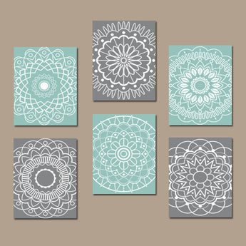 AQUA GRAY Bathroom Decor, Mandala Wall Art Canvas or Prints Aqua Bedroom Wall Decor, Circle Pattern, Medallion Botanical Design, Set of 6 - TRM Design