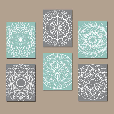 AQUA GRAY Bathroom Decor, Mandala Wall Art, CANVAS or Prints, Aqua Bedroom Wall Decor, Circle Pattern, Medallion Botanical Design, Set of 6