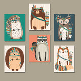 TRIBAL Animal NURSERY Decor, Woodland Animals Wall Art, Canvas or Prints, Tribal Animals Art, Wood Forest Animals, Gender Neutral, Set of 6