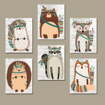 Tribal Animals Wall Art, WOODLAND Tribal Nursery Decor, Canvas or Print, Wood Forest Animals, Woodland Gender Neutral Baby Decor, Set of 6