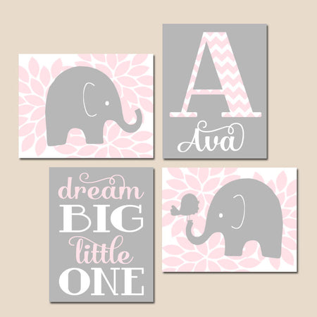 Pink Gray ELEPHANT Nursery Decor, Baby Girl Elephant Nursery Wall Art, Dream Big Little One, Pink Gray Elephants CANVAS or Print Set of 4