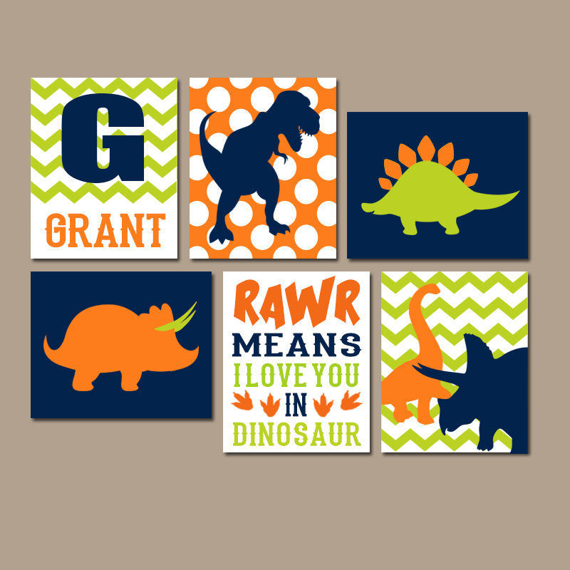 Dinosaur Decor, DINOSAUR Wall Art, DINOSAUR Nursery Art, Dinosaur Theme, Dinosaur Room Decor, Canvas or Print, Dinosaur Wall Decor, Set of 6