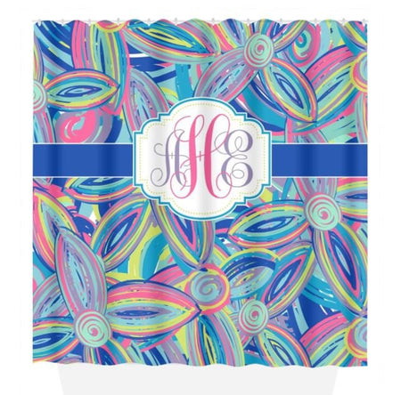 Lilly SHOWER CURTAIN, Custom Dorm MONOGRAM Personalized, Girl Sister Bathroom Decor, Flower Bath Towel, Plush Bath Mat