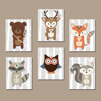 Tribal WOODLAND Animals Nursery Decor, Tribal Animals Wall Art, Birch Woodland Nursery Art, Canvas or Prints Set of 6 Tribal Baby Shower