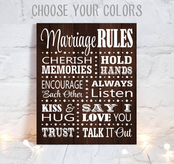 MARRIAGE RULES Sign, Wedding Decor, Canvas or Print, Marriage Rules, Wedding Vows, Wedding Sign, Wedding Wood Quote, Single 1 Wall Decor