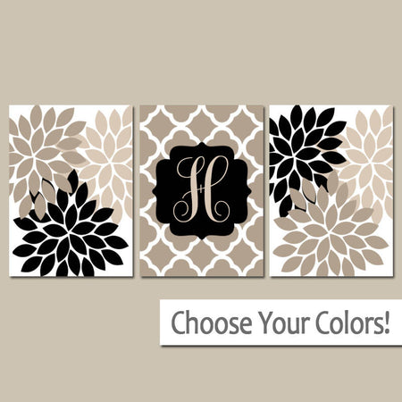 Beige Black Wall Art, Monogram Family Name, Tan Bedroom Wall Decor, Beige Bathroom Decor, CANVAS or Prints Set of 3 Home Decor Wall Decor