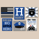 POLICE Wall Art, Police Decor, Police Wall Decor, Baby Boy Nursery CANVAS or Prints, Big Boy Room Decor, Police Birthday Gift, Set of 6