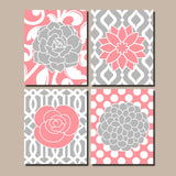 Flower Pattern Wall Art, Flower Bedroom Pictures, Coral Gray Flower Nursery Decor, Coral Bathroom Decor,Kitchen Art,Canvas or Print Set of 4
