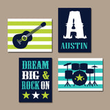 GUITAR Wall Art, Music Theme, Dream Big Rock On, Guitar Nursery Decor, Big Boy Room Wall Decor, CANVAS or Print, Rock N Roll Drums, Set of 4
