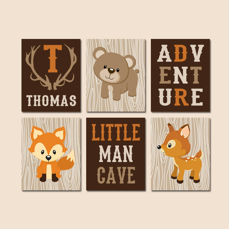 WOODLAND Nursery Decor, Wood Forest Animals, Woodland Animals Canvas or Print, Woodland Nursery Animal Quote, Little Man Cave Set of 6 Decor