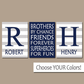 BROTHERS Wall Art, Brothers Decor, Boy Bedroom Decor, Canvas or Prints, Boy Quote Decor, Shared Brother Room, Friends Superheroes, Set of 3