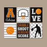 Basketball Wall Art, Basketball Decor Canvas or Prints  Sports Theme Bedroom Wall Decor, Big Boy Room Decor, Set of 6 Basketball Wall Decor