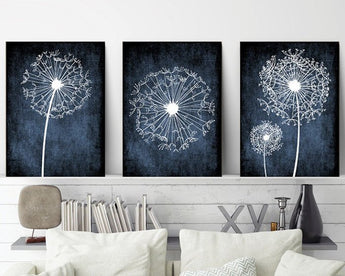 DANDELION Wall Art, Navy Bedroom Pictures, Dandelion Art CANVAS or Prints Navy Bathroom Decor, Dorm Room Decor, Set of 3, Navy Home Decor - TRM Design